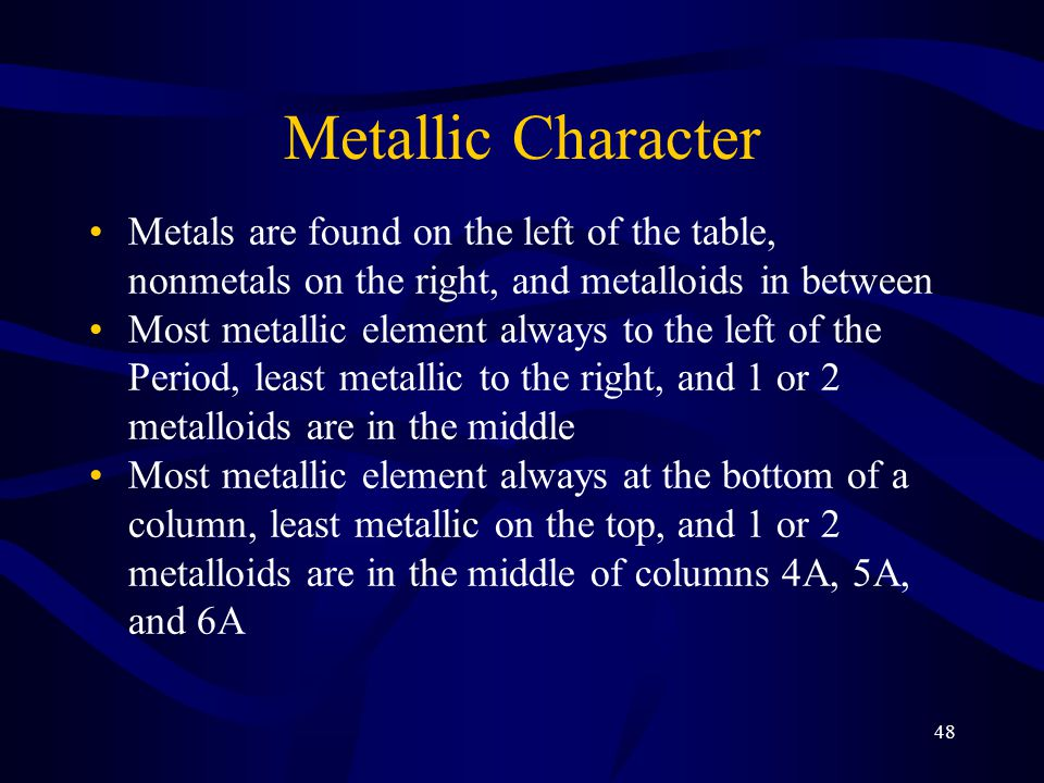 Metallic Character Metals are found on the left of the table, nonmetals on the right, and metalloids in between.