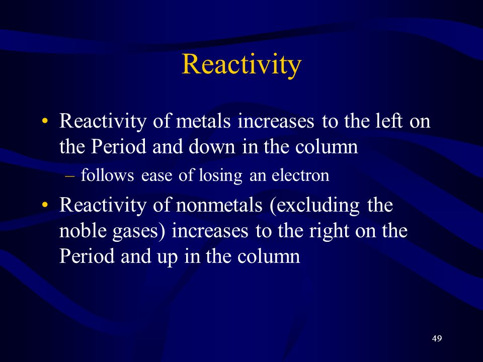 Reactivity Reactivity of metals increases to the left on the Period and down in the column. follows ease of losing an electron.