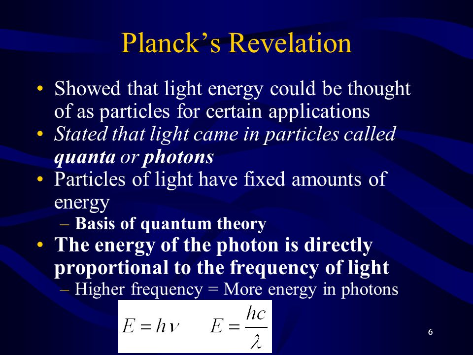 Planck's Revelation Showed that light energy could be thought of as particles for certain applications.