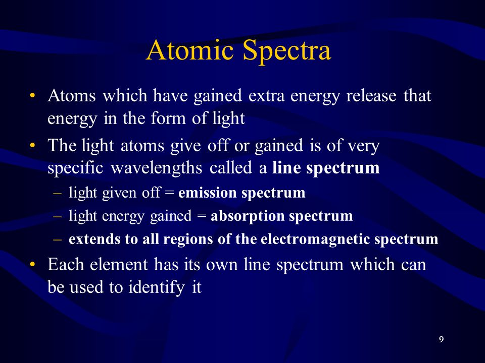 Atomic Spectra Atoms which have gained extra energy release that energy in the form of light.