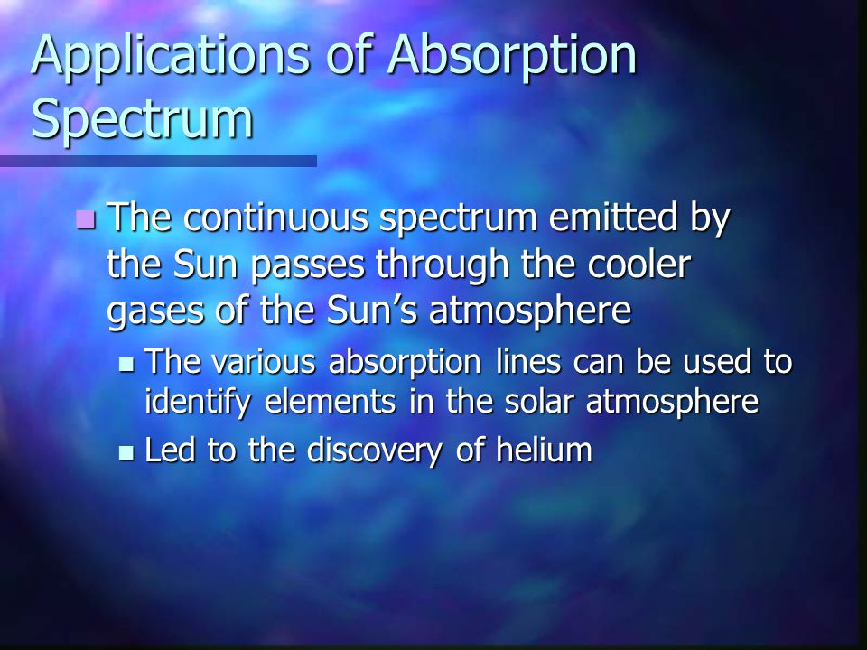 Applications of Absorption Spectrum