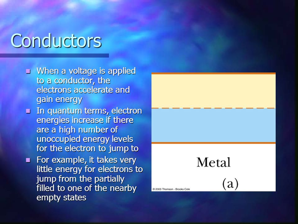 Conductors When a voltage is applied to a conductor, the electrons accelerate and gain energy.