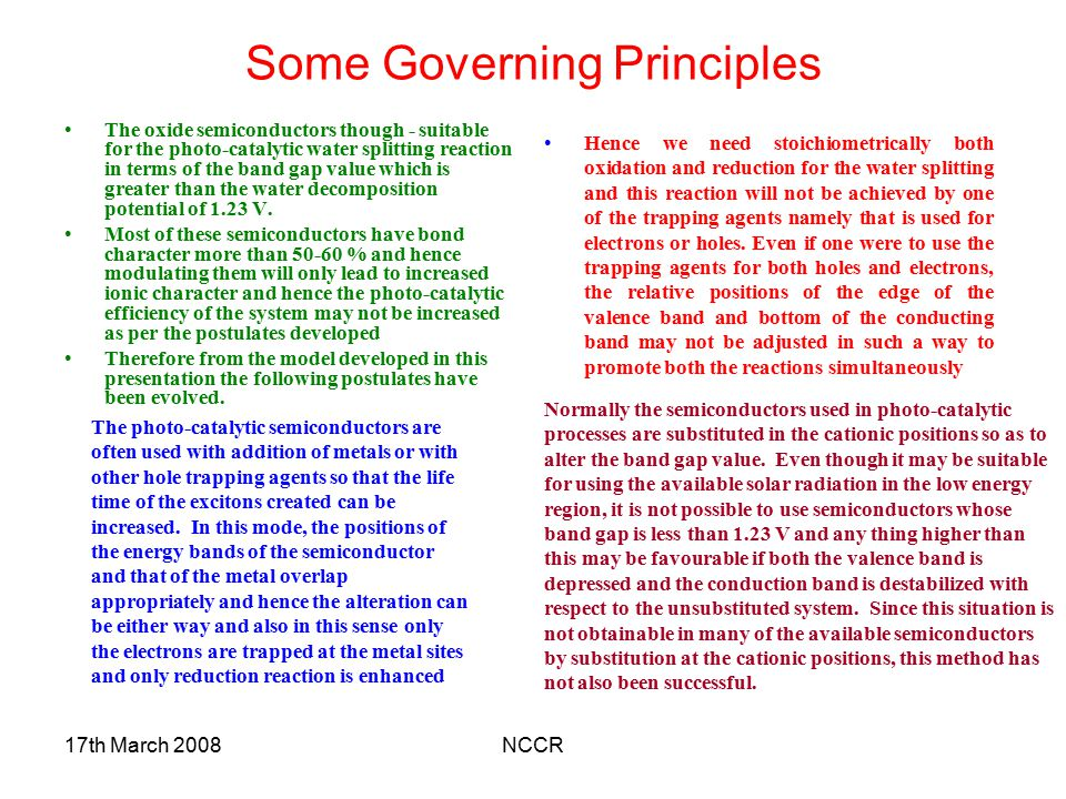 Some Governing Principles