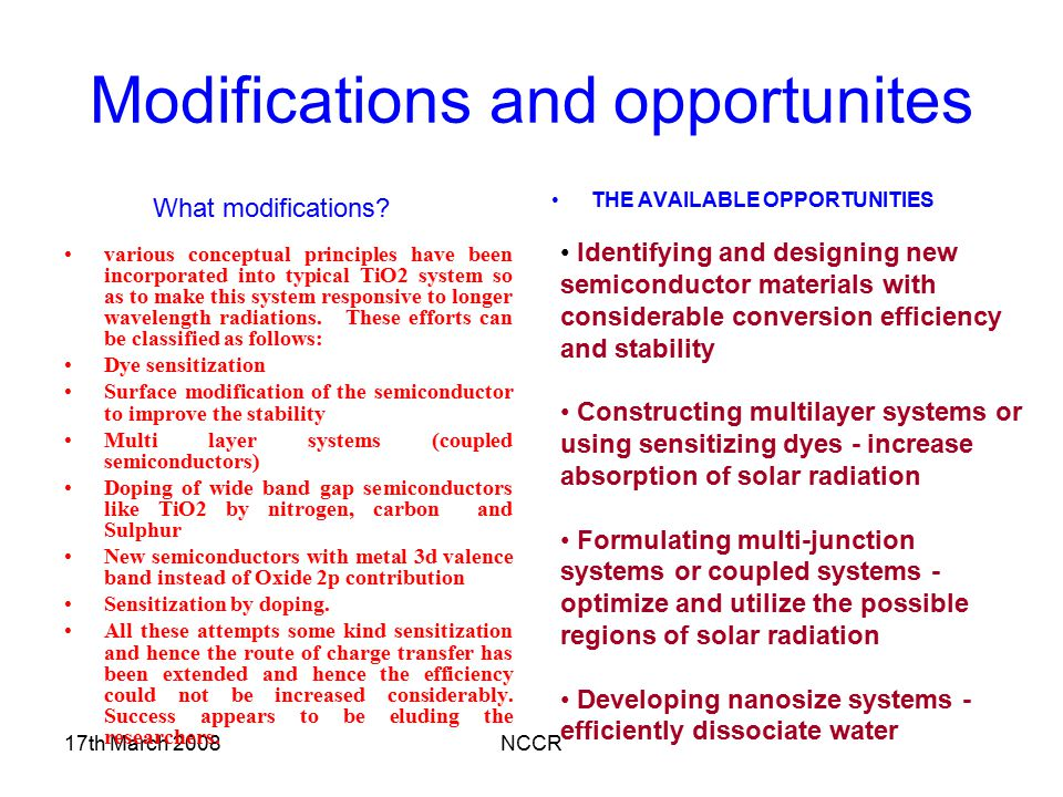 Modifications and opportunites