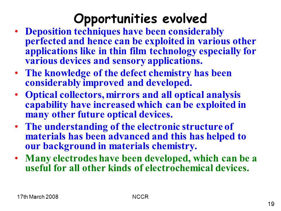 Opportunities evolved