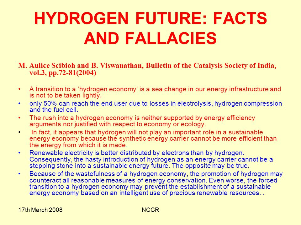 HYDROGEN FUTURE: FACTS AND FALLACIES