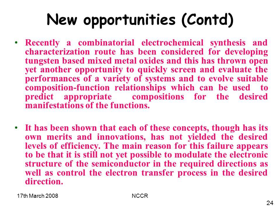 New opportunities (Contd)