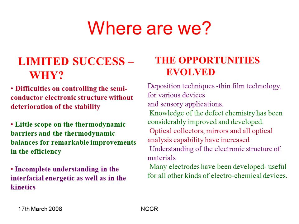 Where are we LIMITED SUCCESS – WHY THE OPPORTUNITIES EVOLVED