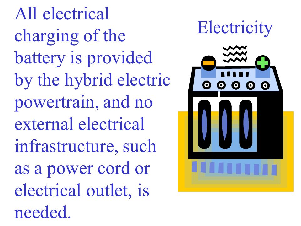 All electrical charging of the battery is provided by the hybrid electric powertrain, and no external electrical infrastructure, such as a power cord or electrical outlet, is needed.