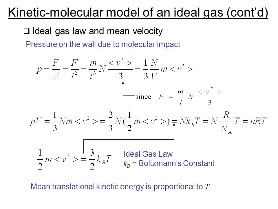 Kinetic-molecular model of an ideal gas (cont'd)