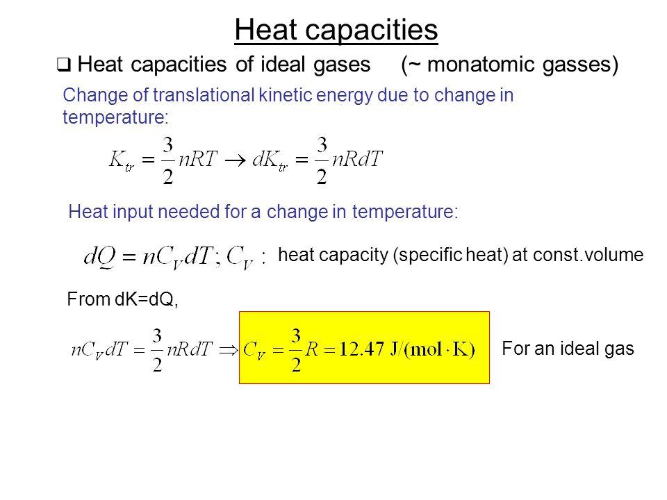 Heat capacities Heat capacities of ideal gases (~ monatomic gasses)