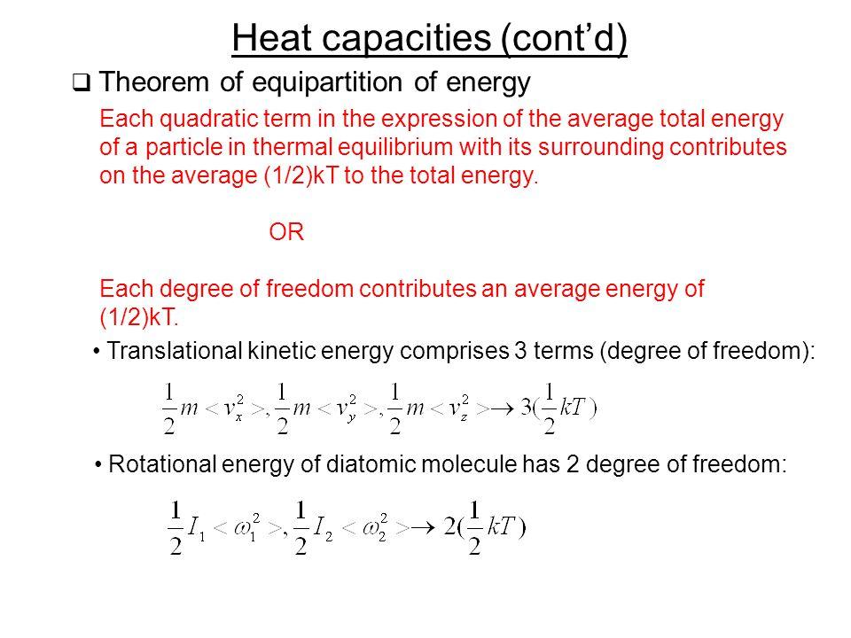 Heat capacities (cont'd)