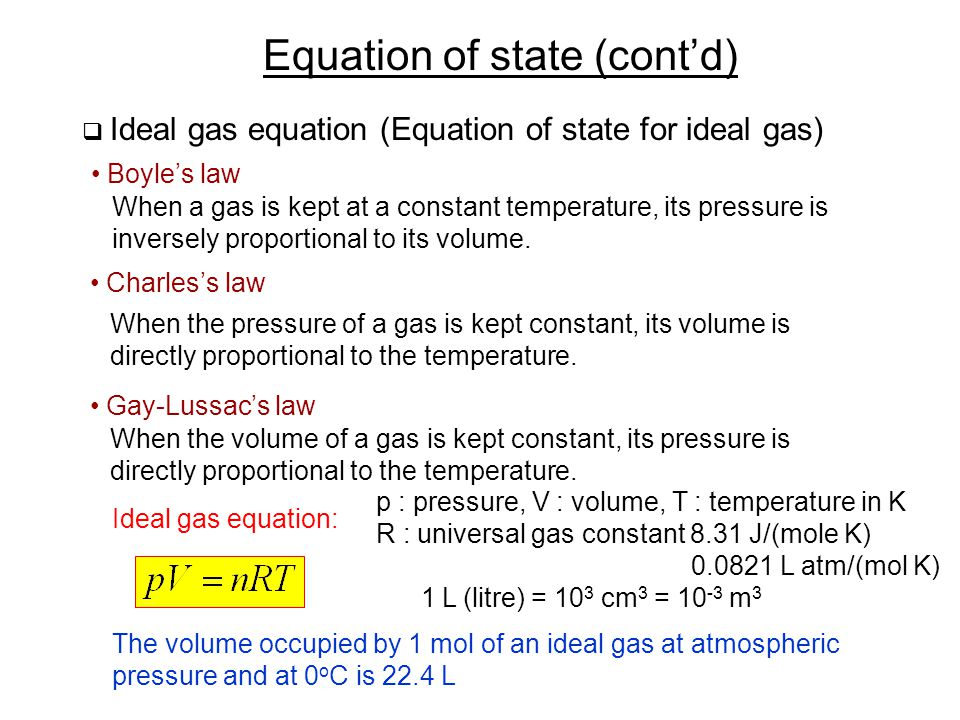 Equation of state (cont'd)