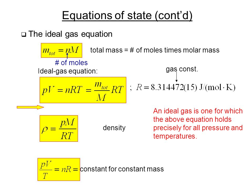 Equations of state (cont'd)