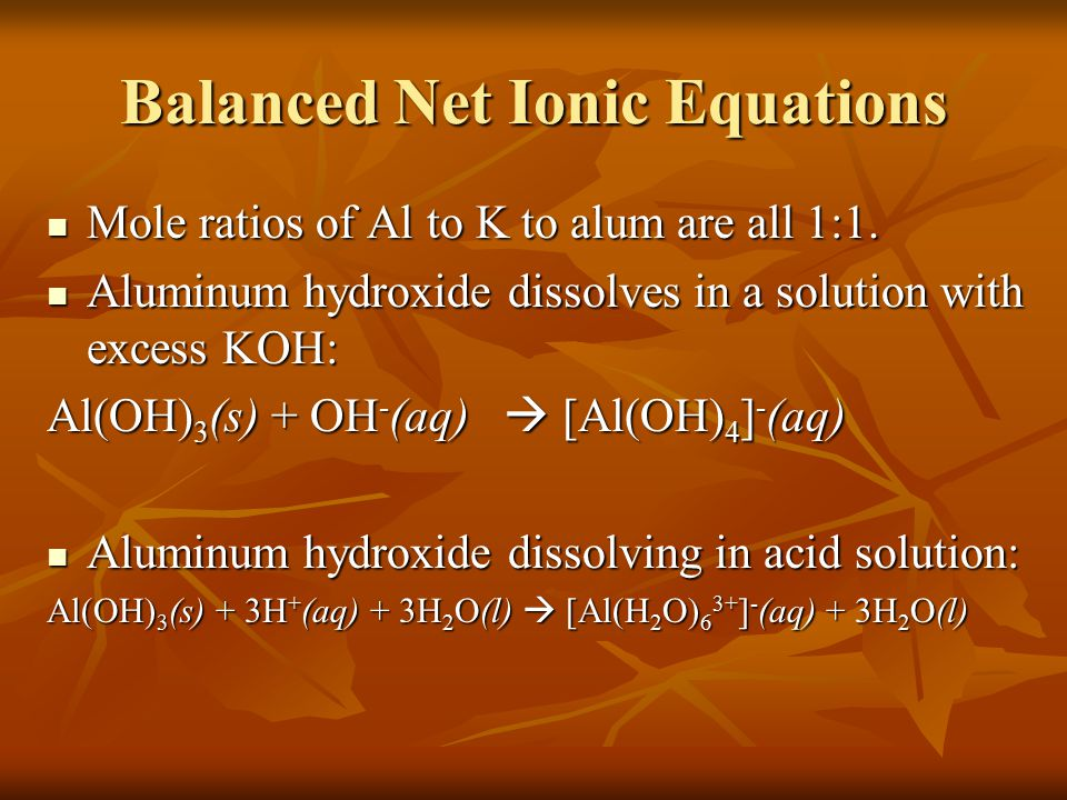 Balanced Net Ionic Equations