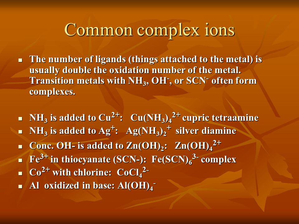 Common complex ions