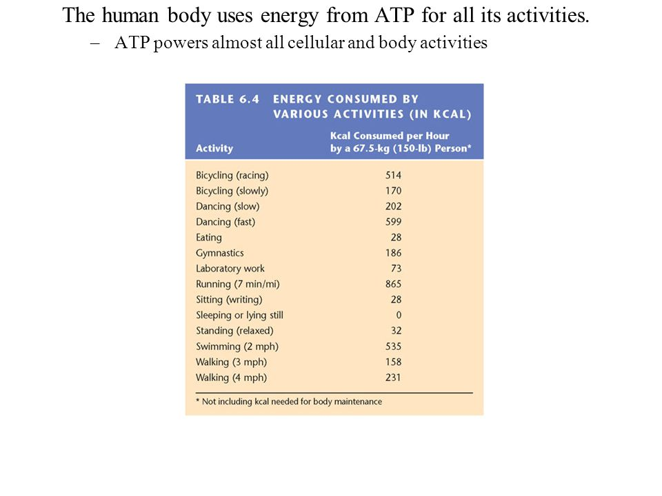 . The human body uses energy from ATP for all its activities.