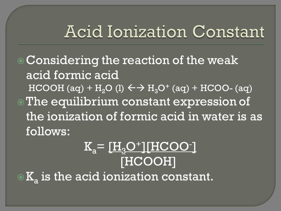 how to find the acid ionization constant