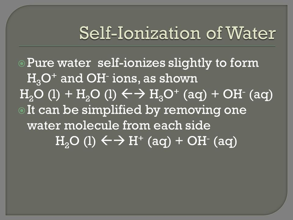 Self-Ionization of Water
