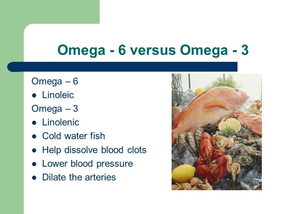 Omega - 6 versus Omega - 3 Omega – 6 Linoleic Omega – 3 Linolenic