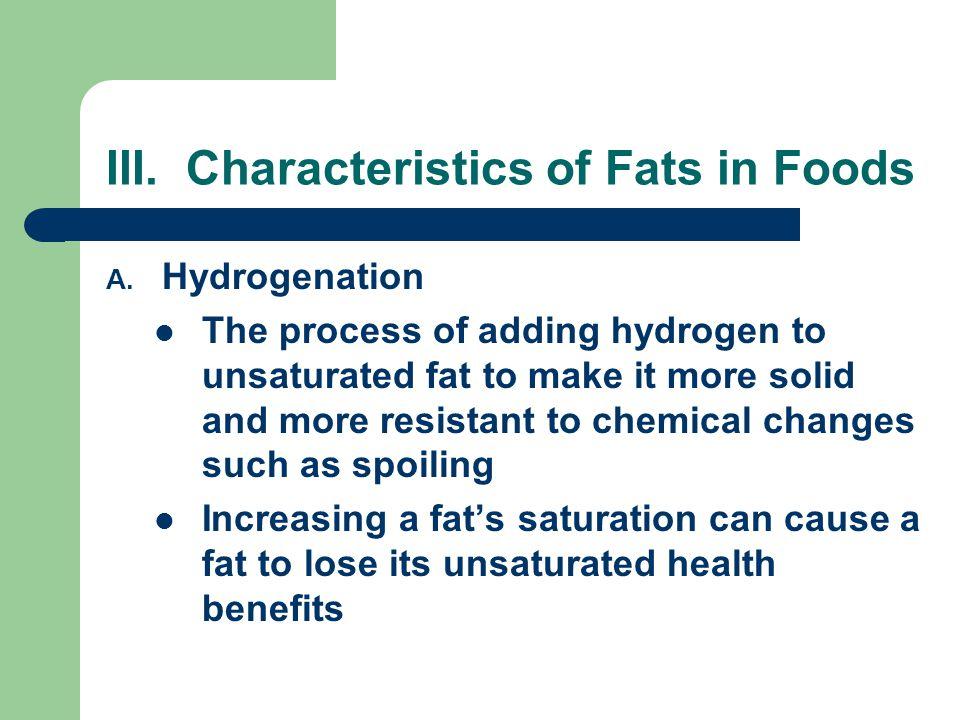 III. Characteristics of Fats in Foods