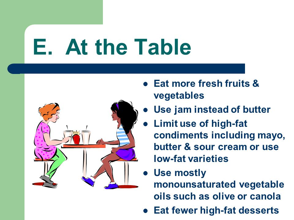 E. At the Table Eat more fresh fruits & vegetables