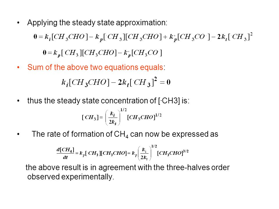 Applying the steady state approximation: