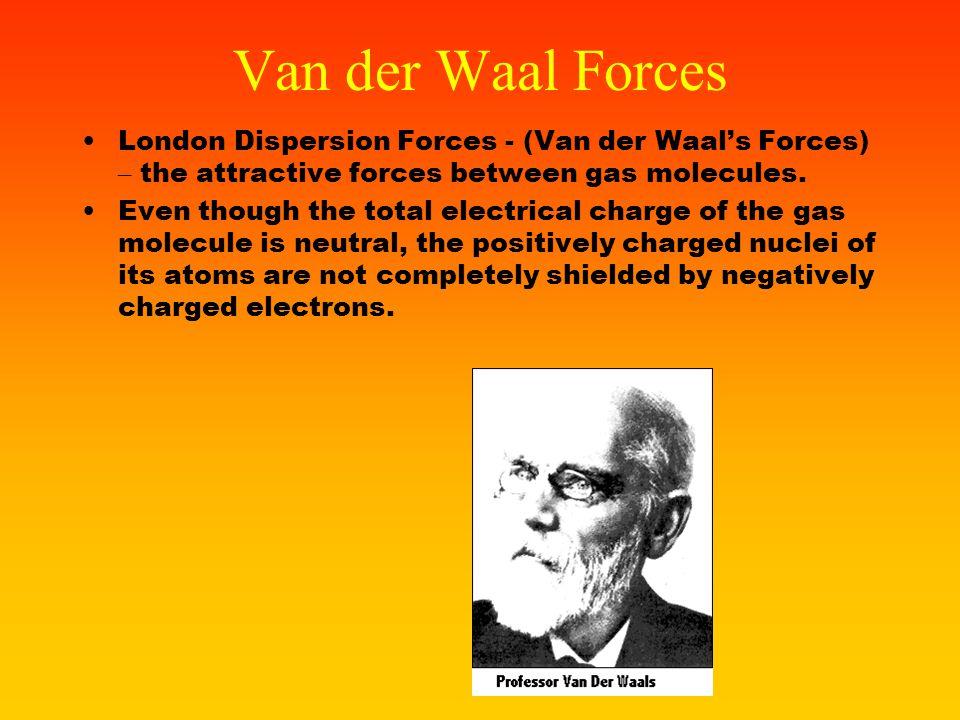 Van der Waal Forces London Dispersion Forces - (Van der Waal's Forces) – the attractive forces between gas molecules.