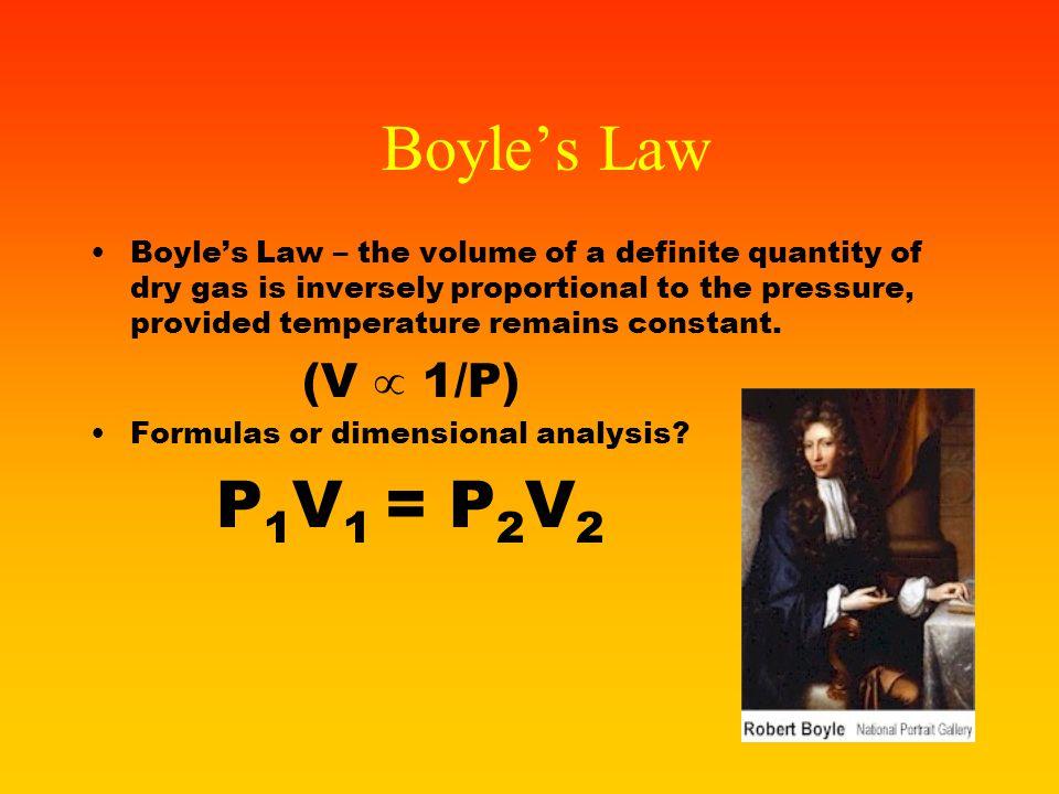 Boyle's Law P1V1 = P2V2 (V  1/P)