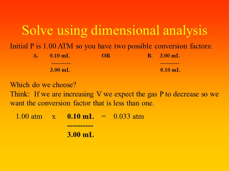 Solve using dimensional analysis