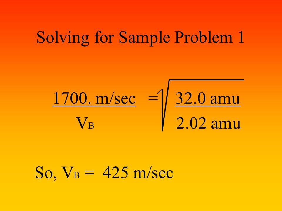 Solving for Sample Problem 1