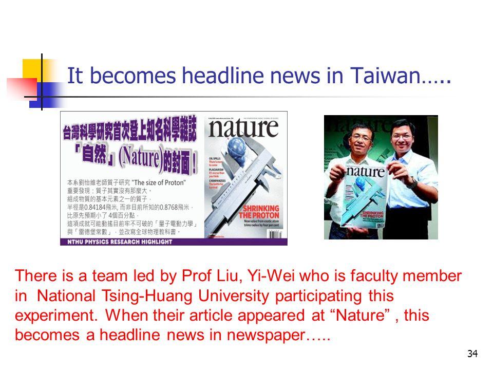 It becomes headline news in Taiwan…..