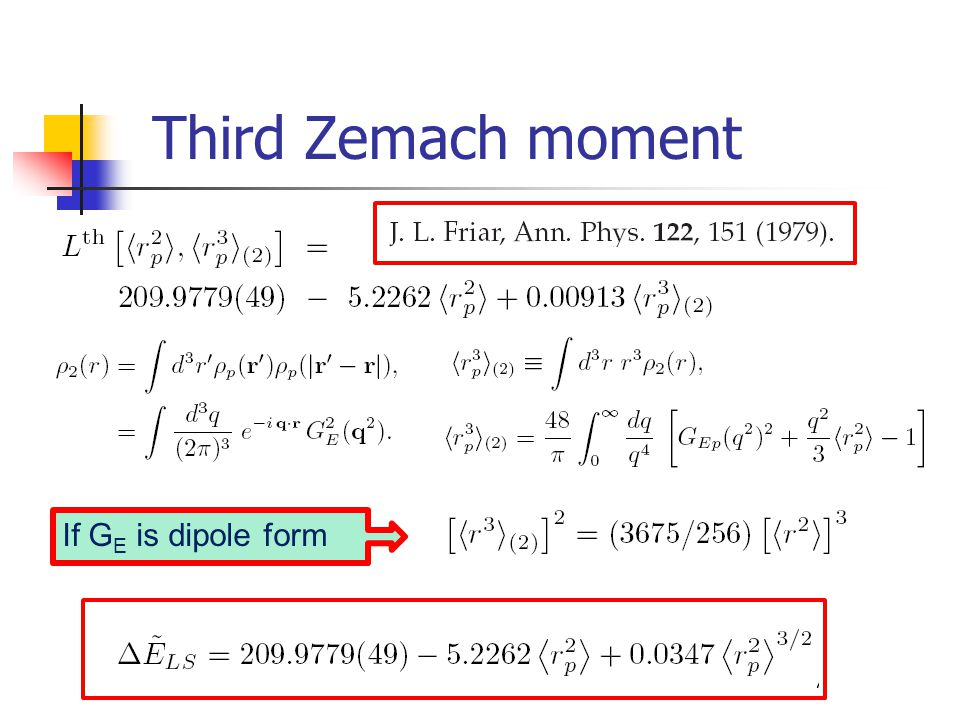 Third Zemach moment If GE is dipole form