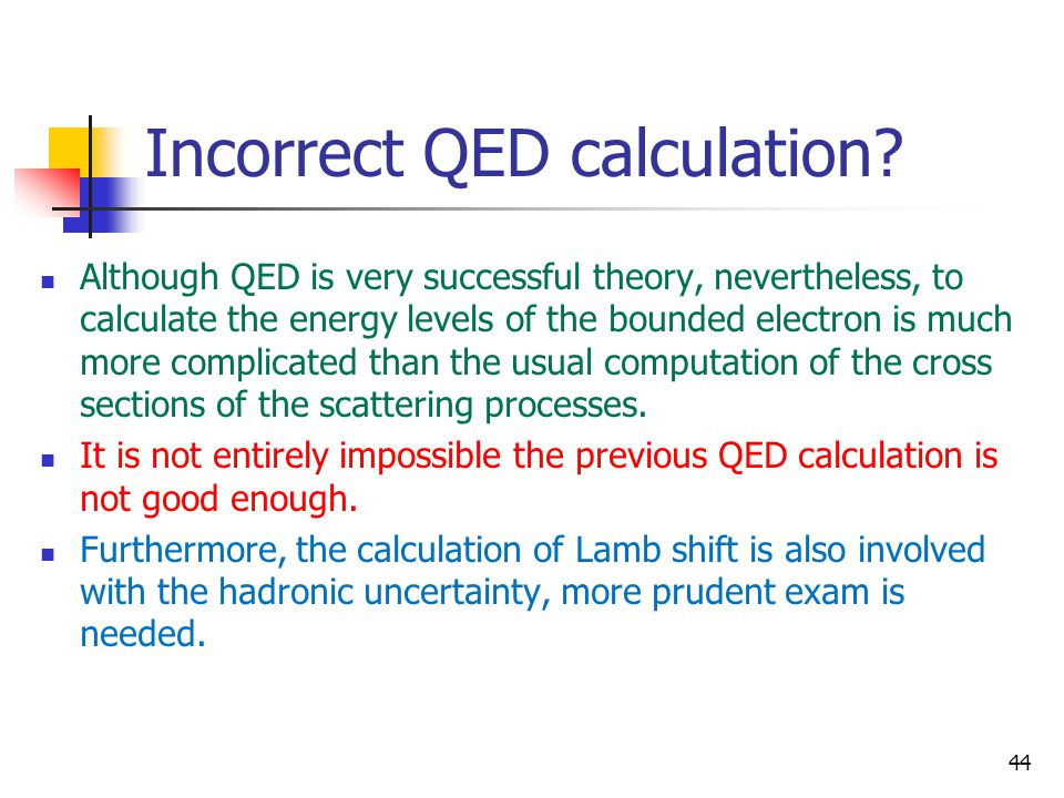 Incorrect QED calculation