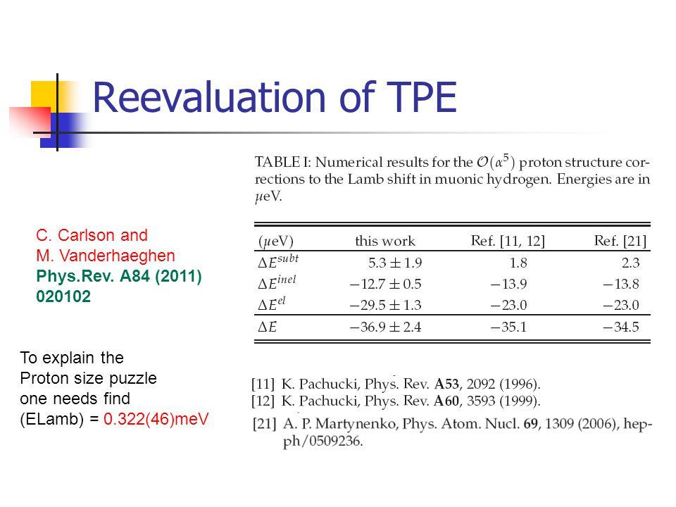 Reevaluation of TPE C. Carlson and M. Vanderhaeghen