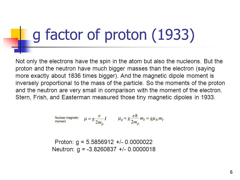g factor of proton (1933)