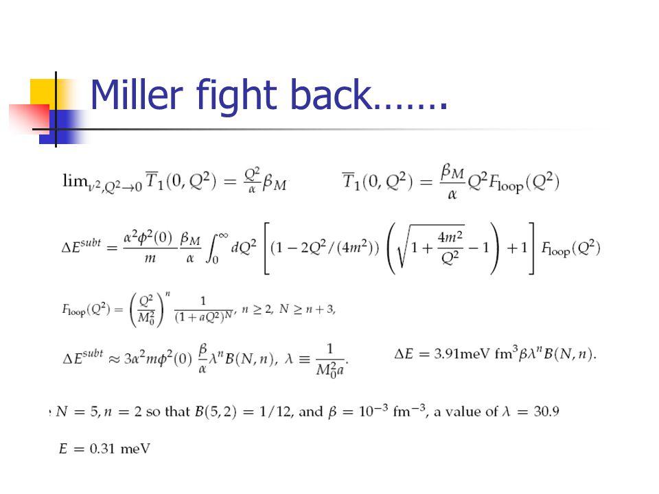 Miller fight back…….