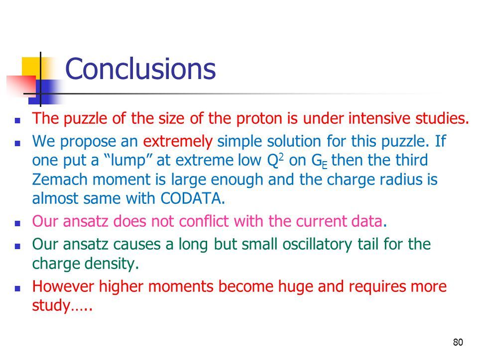 Conclusions The puzzle of the size of the proton is under intensive studies.