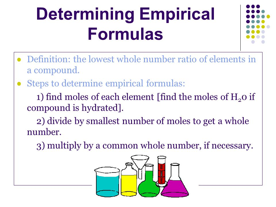 Definition: the lowest whole number ratio of elements in a compound.