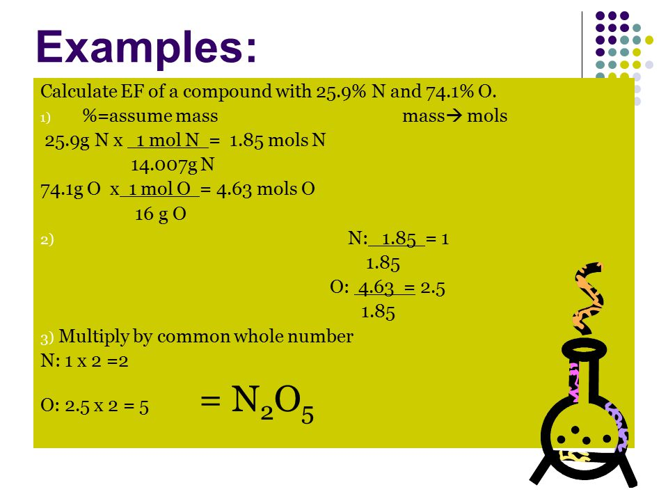 Calculate EF of a compound with 25.9% N and 74.1% O.