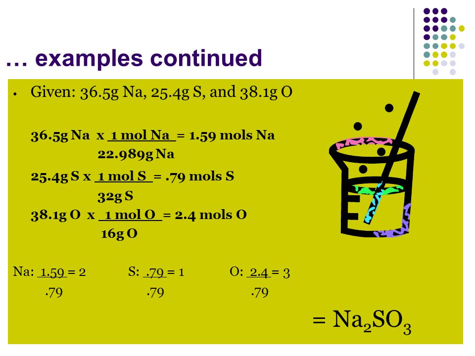 Given: 36.5g Na, 25.4g S, and 38.1g O 25.4g S x 1 mol S = .79 mols S