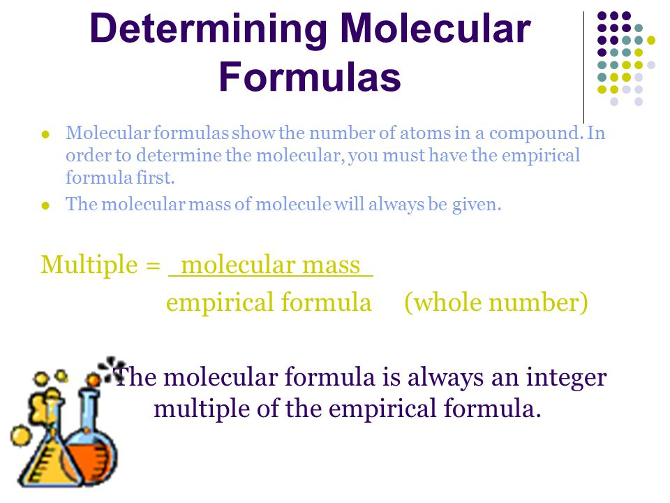 Multiple = molecular mass x empirical formula (whole number)