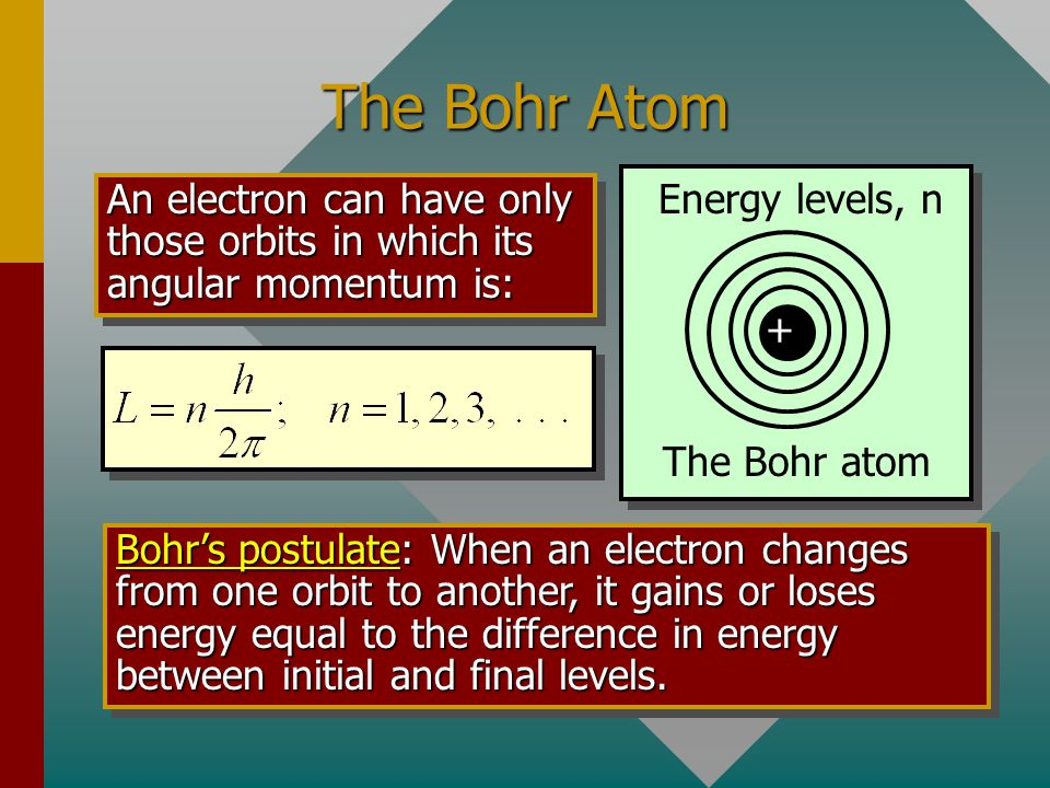 The Bohr Atom + The Bohr atom Energy levels, n