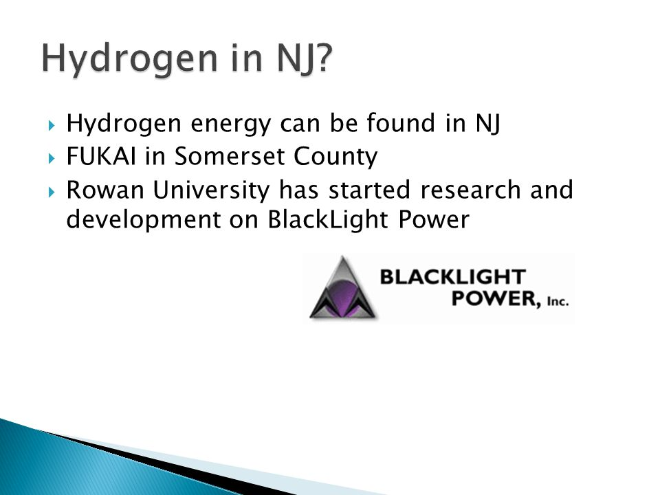 Hydrogen in NJ Hydrogen energy can be found in NJ
