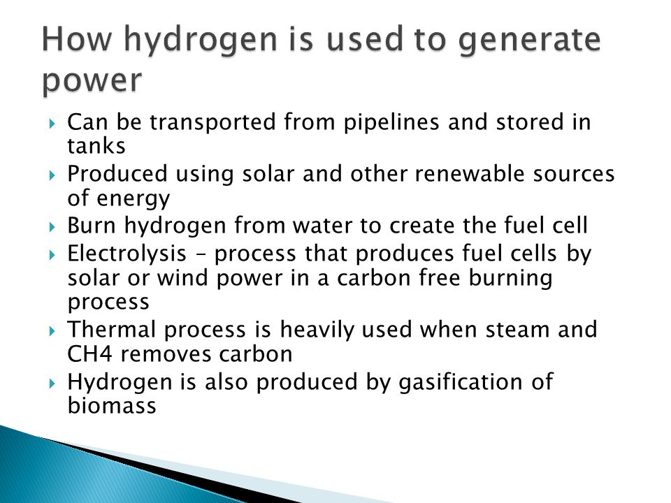 How hydrogen is used to generate power