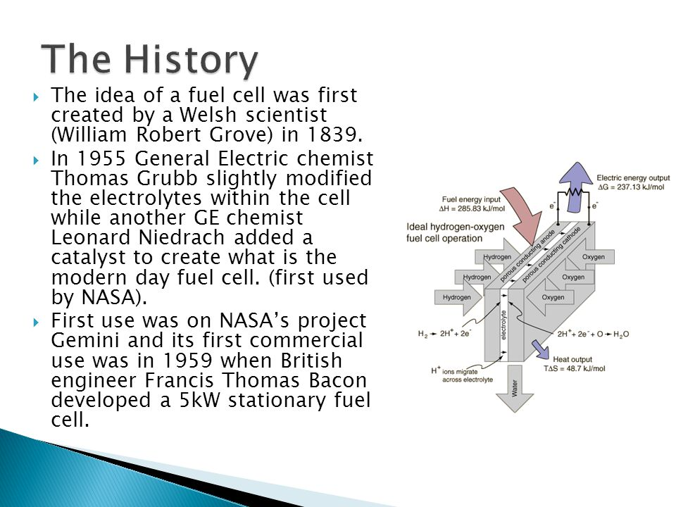 The History The idea of a fuel cell was first created by a Welsh scientist (William Robert Grove) in 1839.