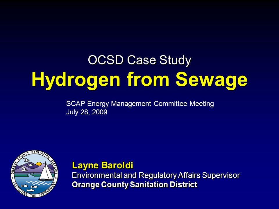 OCSD Case Study Hydrogen from Sewage