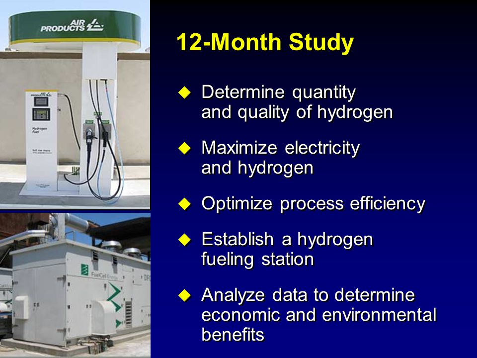 12-Month Study Determine quantity and quality of hydrogen
