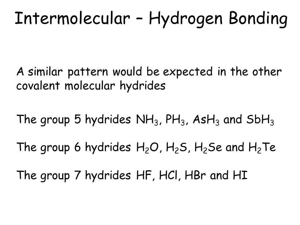 Intermolecular – Hydrogen Bonding