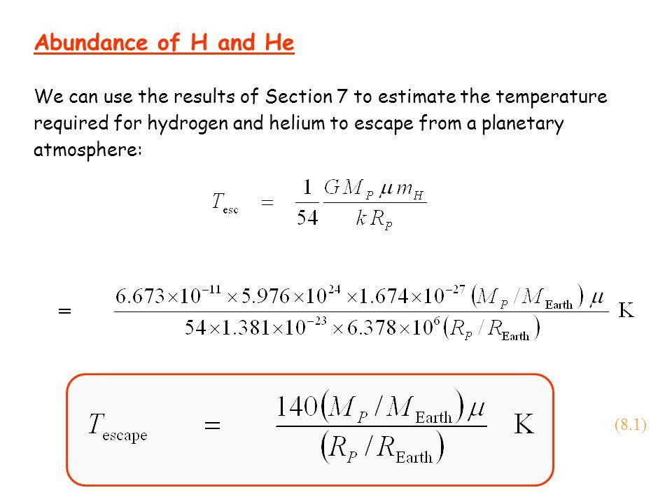 Abundance of H and He